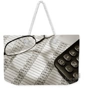 Financial Spreadsheet With Calculator And Glasses Weekender Tote Bag