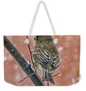 Finch On A Snowy Day Weekender Tote Bag