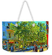 Fine Day For Baby Strollers And Bikes Art Of Montreal Street Scene Across Maitre Gourmet Cafe Weekender Tote Bag
