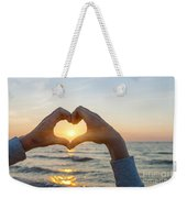 Fingers Heart Framing Ocean Sunset Weekender Tote Bag