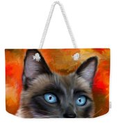 Fire And Ice - Siamese Cat Painting Weekender Tote Bag