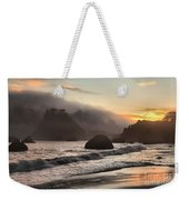 Fire Over The Sea Stacks Weekender Tote Bag by Adam Jewell
