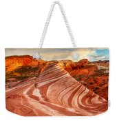 Fire Wave At Sunset Weekender Tote Bag
