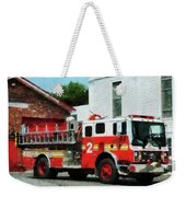 Fireman - Fire Engine In Front Of Fire Station Weekender Tote Bag
