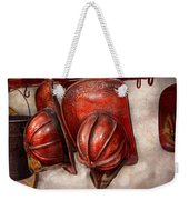 Fireman - Hat - Old Fashioned Fire Hats  Weekender Tote Bag by Mike Savad