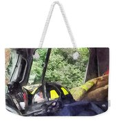 Firemen - Helmet Inside Cab Of Fire Truck Weekender Tote Bag by Susan Savad