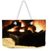 Fireside Cat Nap Weekender Tote Bag