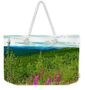 Fireweed And Mountains From Top Of The World Highway-yukon Weekender Tote Bag