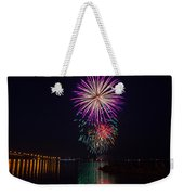 Fireworks Over The York River Weekender Tote Bag by James Drake