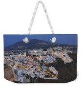 Firostefani At Night Santorini Cyclades Greece  Weekender Tote Bag
