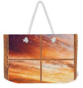 First Dawn Barn Wood Picture Window Frame View Weekender Tote Bag