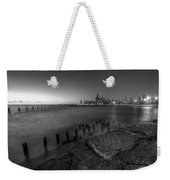 First Hint Of Sunlight In Black And White Weekender Tote Bag