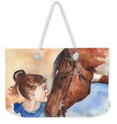 Horse Painting Of Paint Horse And Girl First Kiss Weekender Tote Bag