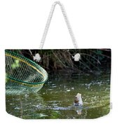 Fish Caught On A Line In Water Weekender Tote Bag