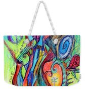 Fish Feather In Teapot Tree Guarded By Human Bird Weekender Tote Bag