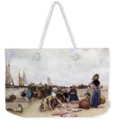 Fish Sale On The Beach  Weekender Tote Bag by Bernardus Johannes Blommers