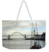 Fisherman At Newport Bay In Oregon II Weekender Tote Bag