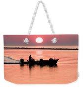 Fisherman At Sunrise Apalachicola Bay Florida  Weekender Tote Bag by Bill Swindaman