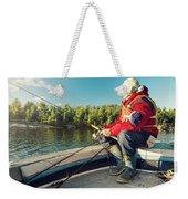 Fisherman Sitting On Foredeck Weekender Tote Bag