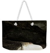 Fishermans Boat Parked On The Beach Weekender Tote Bag