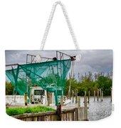 Fishing Boat And Pelicans On Posts Weekender Tote Bag