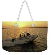 Fishing Boat Coming In At Sunset Weekender Tote Bag