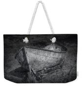 Fishing Boat On Shore In Black And White Weekender Tote Bag