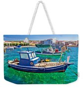 Fishing Boat On Turquoise Sea Weekender Tote Bag