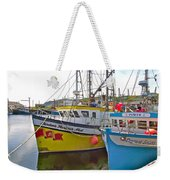 Fishing Boat Reflection In Branch-newfoundland-canada Weekender Tote Bag