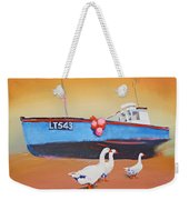 Fishing Boat Walberswick With Geese Weekender Tote Bag