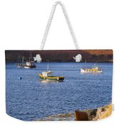 Fishing Boats At Anchor In A Quiet Bay On The Isle Of Skye In Sc Weekender Tote Bag