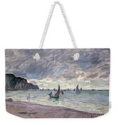 Fishing Boats In Front Of The Beach And Cliffs Of Pourville Weekender Tote Bag