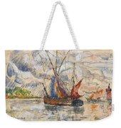 Fishing Boats In La Rochelle Weekender Tote Bag by Paul Signac