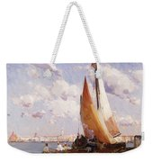Fishing Craft With The Rivere Degli Schiavoni Venice Weekender Tote Bag