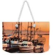 Fishing Fleet Sunset Boat Reflection At Fishermans Wharf Morro Bay California Weekender Tote Bag