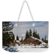 Fishing Lodge In The Winter Weekender Tote Bag
