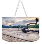 Fishing Tackle On A Wooden Float With Mountain Background In Nc Weekender Tote Bag