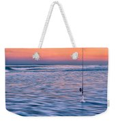 Fishing The Sunset Surf - Square Version Weekender Tote Bag
