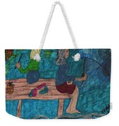 Fishing Under The Evening Sky On A Cool Autumn Night Weekender Tote Bag