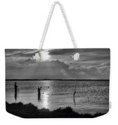 Fishing With Dad - Black And White - Merritt Island Weekender Tote Bag