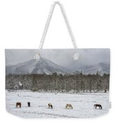 Five Horses During Smoky Mountain Snowfall E92 Weekender Tote Bag