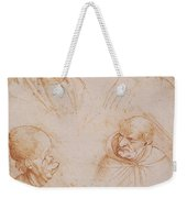 Five Studies Of Grotesque Faces Weekender Tote Bag by Leonardo da Vinci
