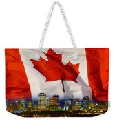 Flag Of Canada Over Albertas Capital Weekender Tote Bag