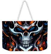 Flaming Skull Weekender Tote Bag