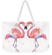 Flamingo Love Watercolor Weekender Tote Bag