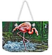 Flamingo Splash Two Weekender Tote Bag