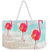 Flamingos On The Beach Weekender Tote Bag