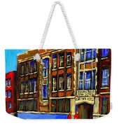Flashback To Sixties Montreal Memories Baron Byng High School Vintage Landmark St. Urbain City Scene Weekender Tote Bag by Carole Spandau