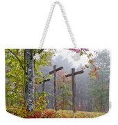 Flax Creek In The Fog Weekender Tote Bag by Debra and Dave Vanderlaan