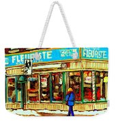 Fleuriste Notre Dame Flower Shop Paintings Carole Spandau Winter Scenes Weekender Tote Bag